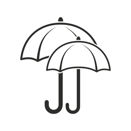 brolly: Umbrella vector icon. Black illustration isolated on white background for graphic and web design.