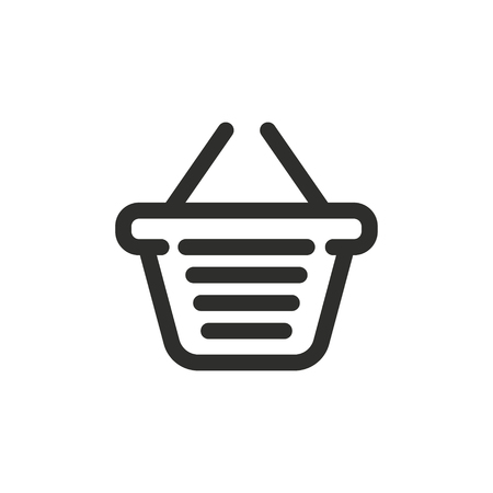 Shopping basket vector icon. Black illustration isolated on white background for graphic and web design. Illustration