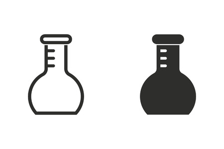 toxic substance: Flask vector icon. Black illustration isolated on white background for graphic and web design.