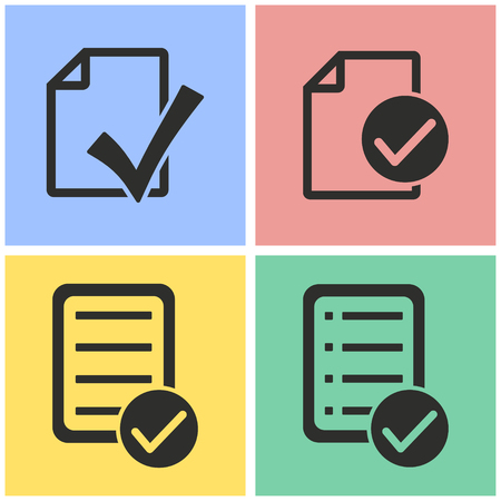 filling folder: Checklist vector icons set. black Illustration isolated for graphic and web design.