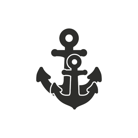 ship anchor: Anchor vector icon. Black illustration isolated on white background for graphic and web design.
