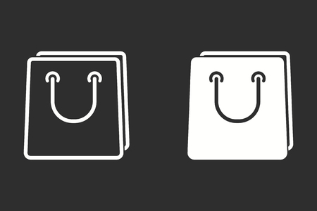 supermarket: Shopping bag vector icon. White illustration isolated on black background for graphic and web design.