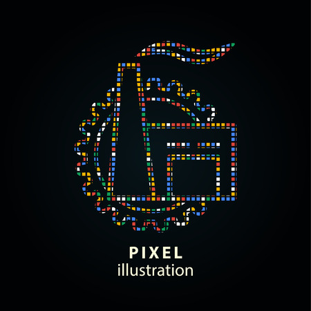 Factory - pixel icon. Vector Illustration. Design logo element. Isolated on black background. It is easy to change to any color.