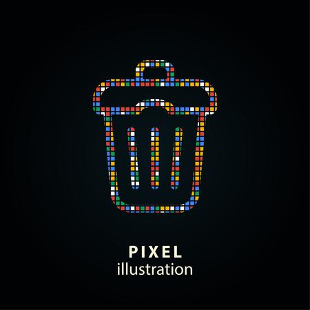 Mülleimer - Pixel-Symbol. Illustration. Design-Logo-Element ...