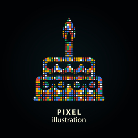 Cake - pixel icon. Vector Illustration. Design logo element. Isolated on black background. It is easy to change to any color.