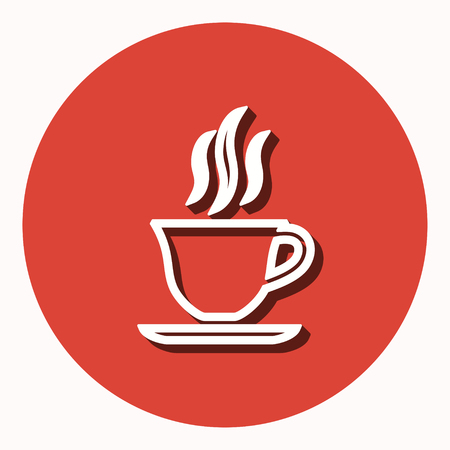 Coffee cup vector icon with shadow. Illustration isolated for graphic and web design. Illustration