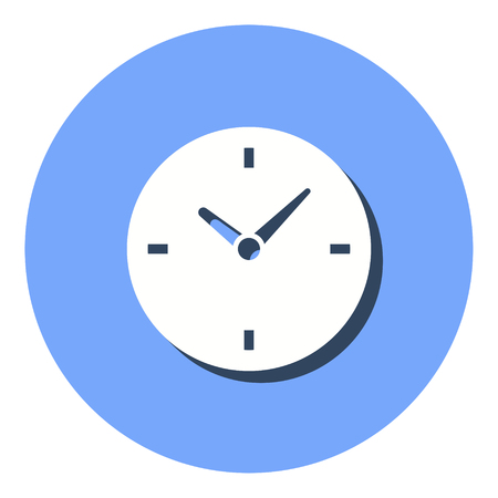 Clock vector icon with shadow. Illustration isolated for graphic and web design.