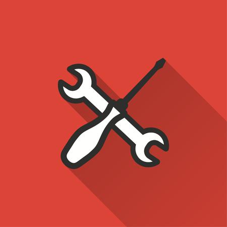 Hulpprogramma vector pictogram met lange schaduw. Illustratie op rode achtergrond voor grafisch en Webontwerp wordt geïsoleerd dat. Vector Illustratie