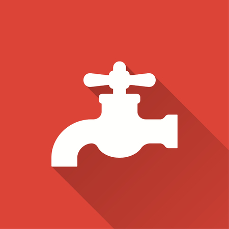 ooze: Faucet vector icon with long shadow. Illustration isolated on red background for graphic and web design.
