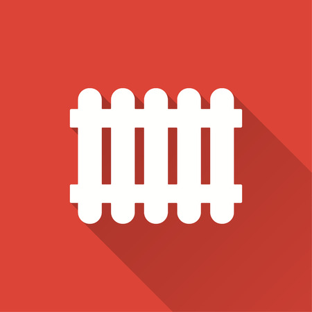 Fence vector icon with long shadow. Illustration isolated on red background for graphic and web design.