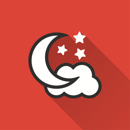 Moon star vector icon with long shadow. Illustration isolated on red background for graphic and web design.