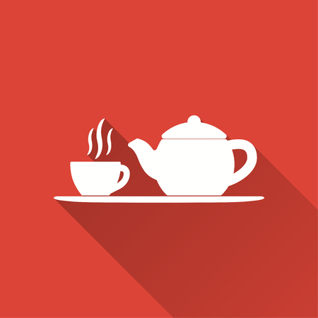 pause icon: Tea vector icon with long shadow. Illustration isolated on red background for graphic and web design. Illustration