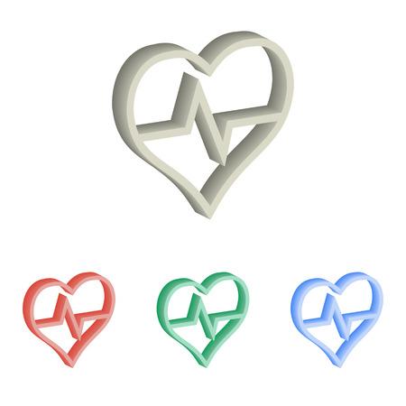 heart monitor: Heartbeat 3d isometric illustration.