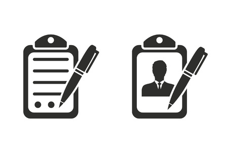 Application form vector icon. Black illustration isolated on white background for graphic and web design.