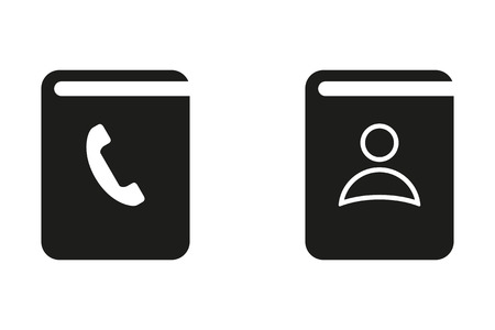 phon: Address book vector icon. Black illustration isolated on white background for graphic and web design.