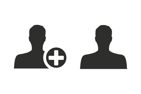 new addition: Add vector icon. Black illustration isolated on white background for graphic and web design.