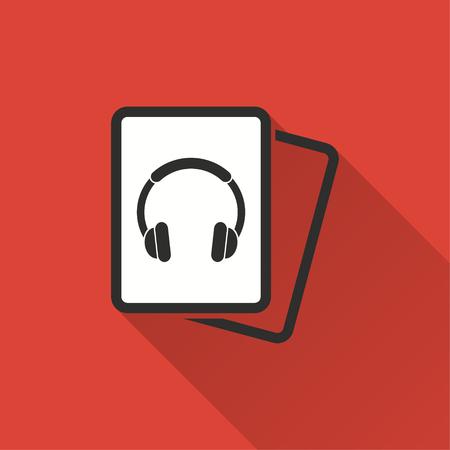 오디오 책 벡터 아이콘 긴 그림자입니다. 빨간색 backgroun 그래픽 및 웹 디자인을위한 절연에 그림.