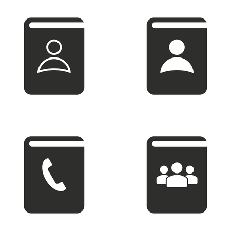 phon: Address book vector icons set. Black Illustration isolated for graphic and web design.
