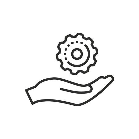 Asistencia del icono del vector. Negro ilustración aislado sobre fondo blanco para el diseño gráfico y web.
