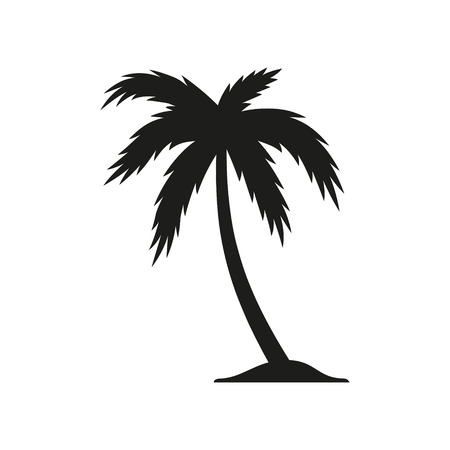 Palm tree vector icon. Black illustration isolated on white background for graphic and web design.