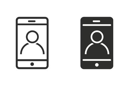 携帯電話顧客のクエリを支援で使用されるベクトル アイコン.黒のグラフィックや web デザイン、白い背景で隔離の図。  イラスト・ベクター素材