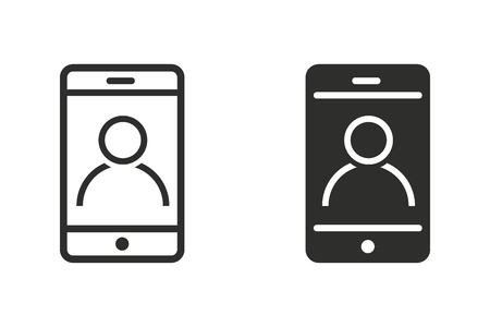 Cellular phone vector icon used in assisting customers queries.. Black illustration isolated on white background for graphic and web design. Çizim