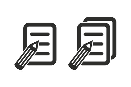 paper note: Registration vector icon. Black illustration isolated on white background for graphic and web design.