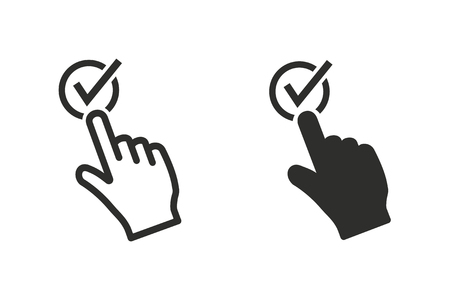 choosing: Touch vector icon. Black illustration isolated on white background for graphic and web design. Illustration