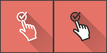 Touch vector icon with long shadow. Illustration on red background isolated for graphic and web design.