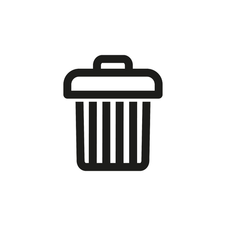 Trash can vector icon. Black illustration isolated on white background for graphic and web design.