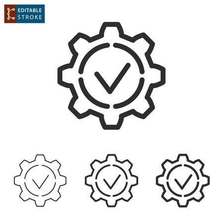 Settings vector icon. Black illustration isolated on white background. Thin line symbol. Editable stroke.