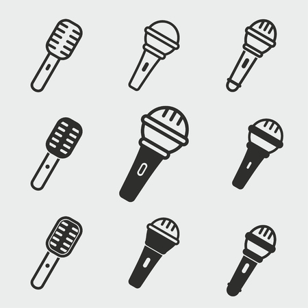 Microphone vector icons set. Black illustration isolated for graphic and web design.