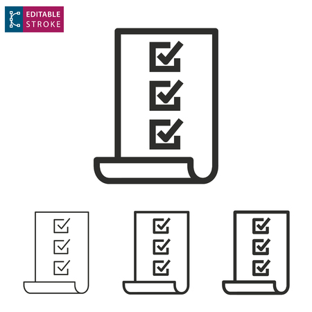 Checklist - outline icon on white background. Editable stroke illustration.