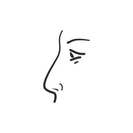 Nose vector icon. Black illustration isolated on white background for graphic and web design. Illustration