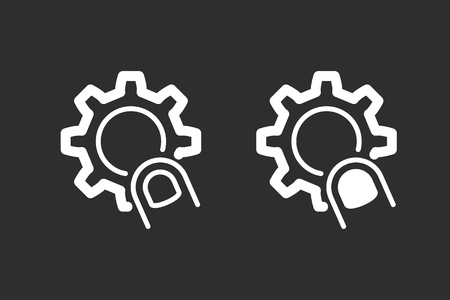 Interact vector icon. White illustration isolated on black background for graphic and web design.