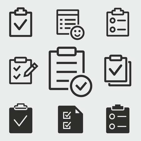 Checklist vector icons set. White illustration isolated for graphic and web design.