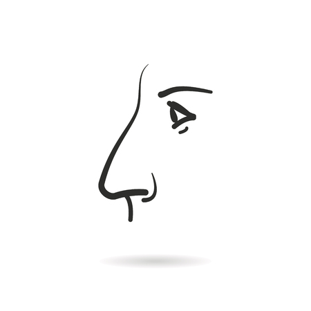 Nose - outline vector icon. Black pictogram isolated on a white background. Line symbol for design, logo, infographic and website. Illustration