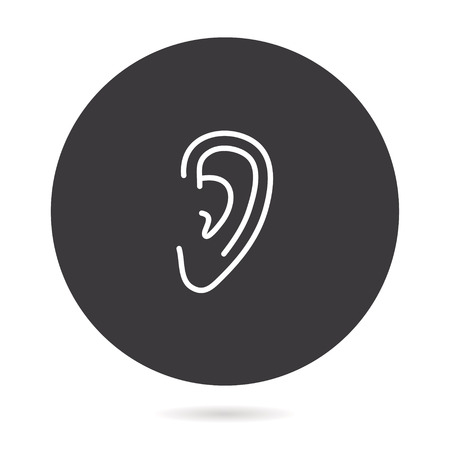 Ear - outline vector icon. Illustration isolated. Line pictogram for design, infographic and website.