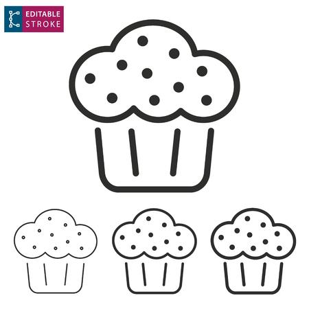 Cake - outline icon on white background. Editable stroke. Vector illustration