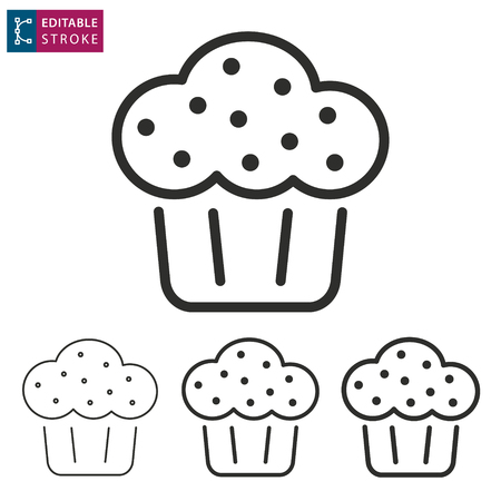 Cake - outline icon on white background. Editable stroke. Vector illustration