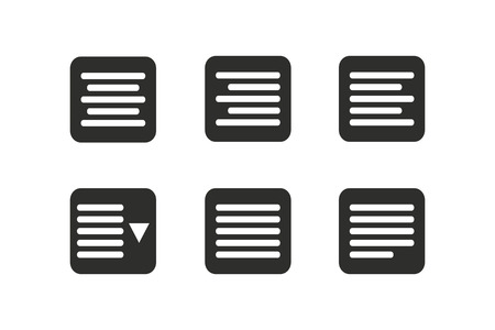 Align vector icon. Black illustration isolated on white background for graphic and web design.