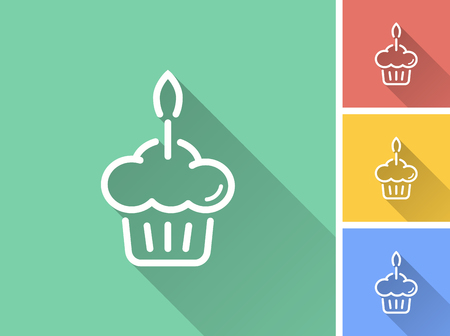 Cake vector icon with long shadow. Illustration isolated for graphic and web design.
