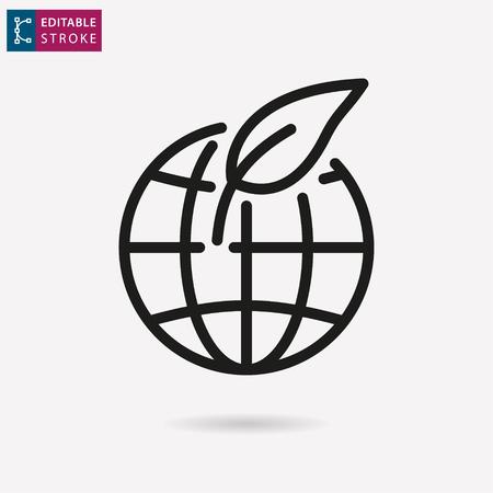 Ecology - outline black icon. Editable stroke. Vector illustration