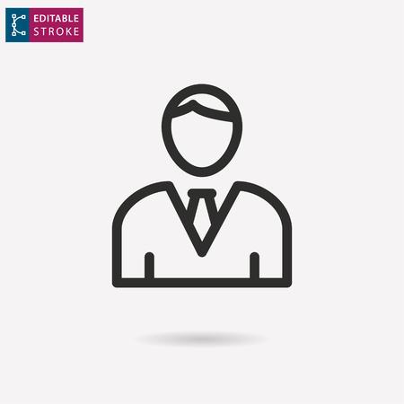 Assistance - outline black icon. Editable stroke. Vector illustration Illustration