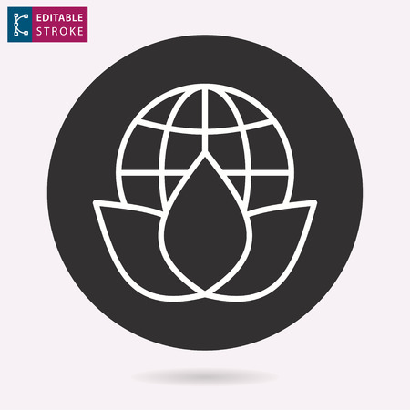 Ecology - outline vector icon. Illustration isolated for graphic and web design. Editable stroke.