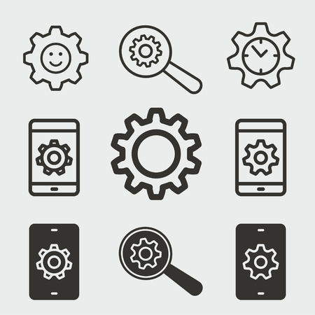 Settings vector icons set. Black illustration isolated for graphic and web design. 矢量图像