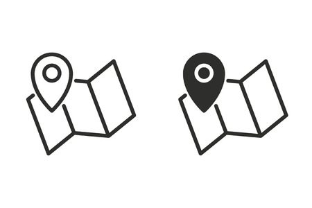 Map pin vector icon. Black illustration isolated for graphic and web design.