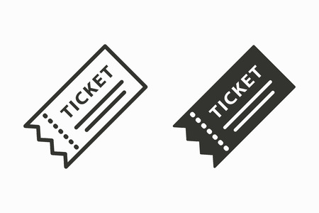 Ticket vector icon. Black illustration isolated for graphic and web design. Vectores