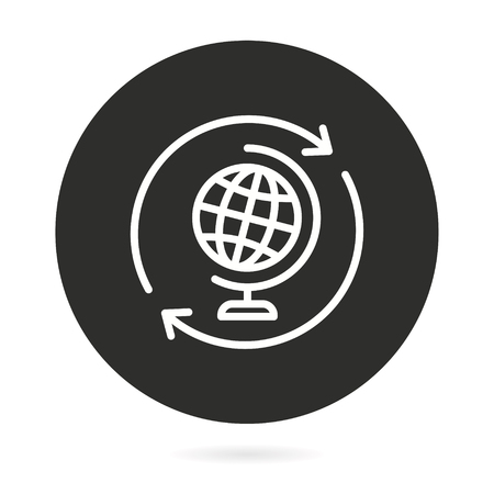 Ecology vector icon with globe. Illustration isolated for graphic and web design.