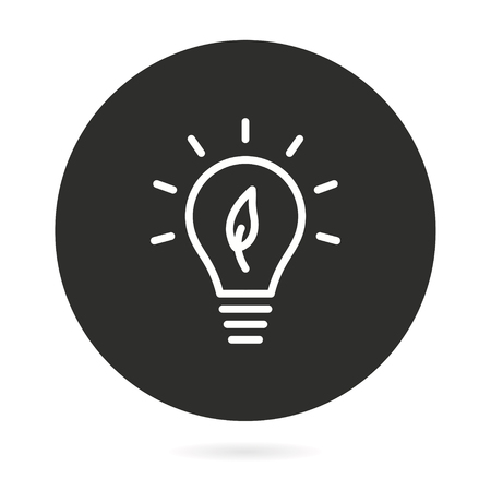 Ecology vector icon with light bulb. Illustration isolated for graphic and web design.